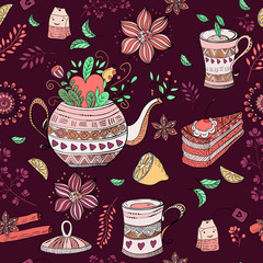 Seamless doodle pattern. Tea, sweets and flowers