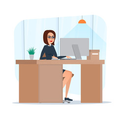 Business woman lady entrepreneur in a suit working on a laptop computer office desk. Business cartoon concept. Vector illustration isolated on white background in flat style.