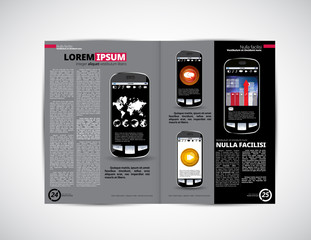Layout magazine with business mobile apps illustration, vector