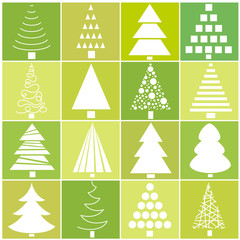 Set of Christmas trees in the style of flat