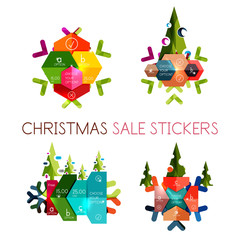 Modern paper Christmas stickers