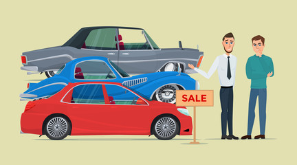 Buyer chooses a new car of the three proposed manager. Business cartoon concept. Vector creative color illustrations flat design in flat modern style.