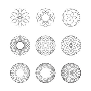 Set of spirograph elements. Collection of abstract shapes for design. Vector illustration.
