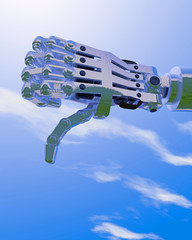 3D illustration of a robot hand giving a thumbs down disapproval sign; blue sky backdrop.