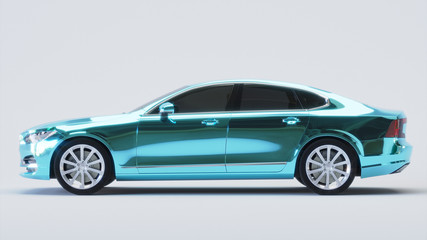 Car wrapped in blue chrome film. 3d rendering Wall mural