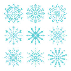Set of beautiful ornate lacy snowflakes. Vector illustration.