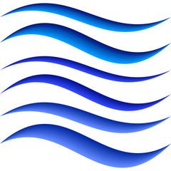 Blue water symbol element design set