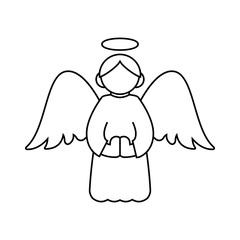 Christmas angel thin line icon