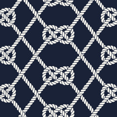 Seamless nautical rope pattern. Carrick Bend knot