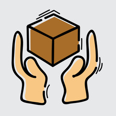 handle with care icon, vector illustration