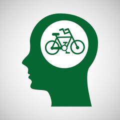 concept environment bike silhouette head vector illustration eps 10