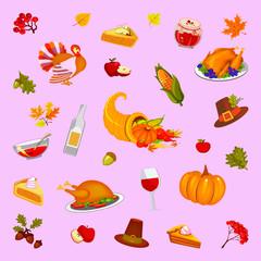Thanksgiving Day, pink background, illustration. Food and beverages, vegetables, fruit.