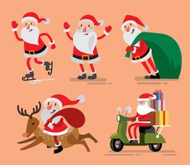 Set of Santa Claus and deer