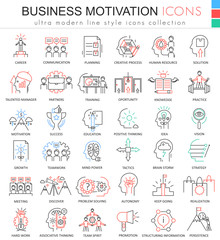 Vector Business motivation ultra modern color outline line icons for apps and web design.