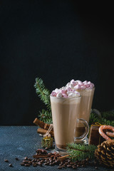 Christmas Cafe latte with marshmallow