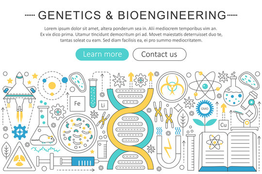Vector elegant thin flat line Genetics and bioengineering concept. Website header banner elements layout. Presentation, flyer and poster.