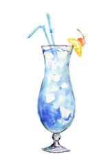 Isolated watercolor cocktail. Isolated glass with alcohol drink on white background.