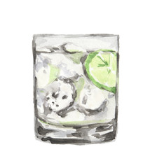 Isolated watercolor cocktail. Isolated glass with alcohol drink on white background. Ice cubes and lime.