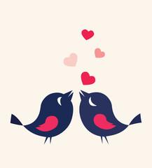 Birds In Love Heart Card Cute Cartoon Illustration Vector Stock
