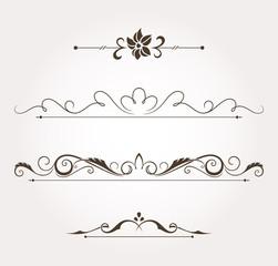 Set of floral design elements and page decoration. Vector illustration