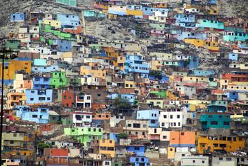 Houses on a steep hillside in Callao, Peru