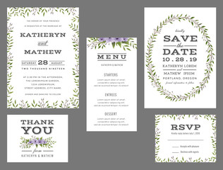 Wedding suite template decorate with wreath flowers. Save the date, wedding invitation, wedding menu, thank you card. Vector illustration.