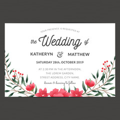 Wedding invitation card template decorate with red flower wreath. Vector illustration.