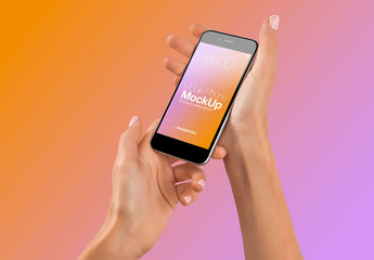 Hands with Cellphone on Gradient Background Mockup 45