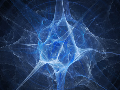 Blue glowing neuron fractal abstract background