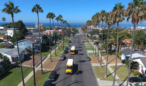 South Redondo Beach Aerial with School Bus
