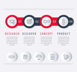 Product development timeline, infographic elements, step labels with line icons