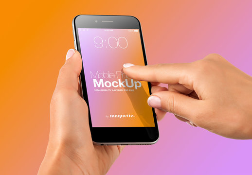 Hand with Cellphone on Gradient Background Mockup 29