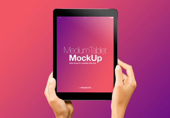 Hands with Tablet on Gradient Background Mockup 18