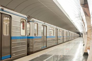 Subway train at metro station