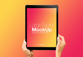 Hands with Tablet on Gradient Background Mockup 6