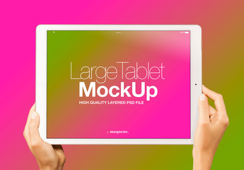 Hands with Tablet on Gradient Background Mockup 9