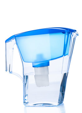 Water filter pitcher isolated on white background