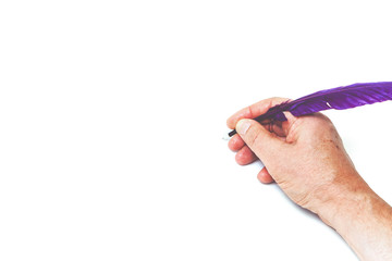hand writes, purple pen on white background