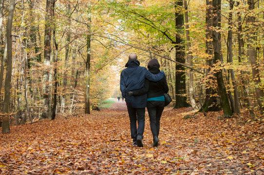 couple marchant sur un chemin forestier en automne