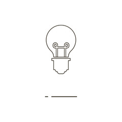 Vector illustration of thin line bulb icon on white background