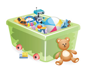 Plastic box filed with toys. A variety of children's toys. Set of different toys for children. Vector illustration. Storing toys for children.