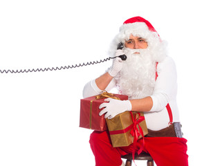 Santa Claus talking by phone, call to Santa Claus
