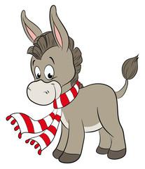Niedlicher Esel mit Schal