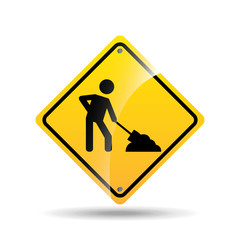 road sign under construction design icon vector illustration eps 10