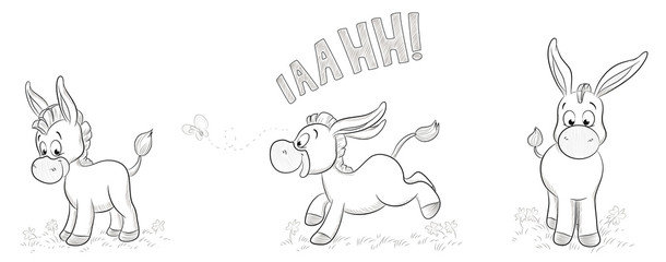 Illustration von drei niedlichen Eseln