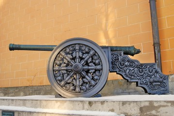 Old cannon shown in Moscow Kremlin. Color photo.