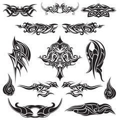 Set of abstract tribal tattoo in black on a white background
