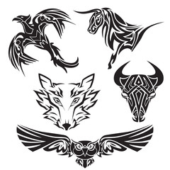 Set of animals tattoo. Bull, wolf, owl, eagle