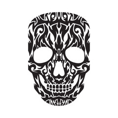 Skull tatto in black on a white background. Vector illustration