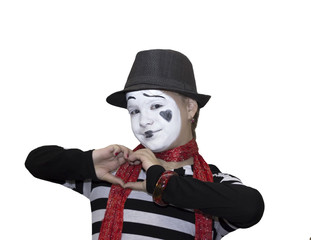 Girl as mime actor isolated on white